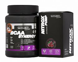 Akcia: BCAA Synergy + Nitrox Pump - Prom-IN 550 g + 10x15 g Raspberry