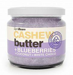 Cashew Butter ochutené - GymBeam 340 g Blueberries+Coconut+White Choco