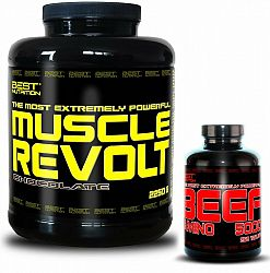 Muscle Revolt + BEEF Amino Zadarmo - Best Nutrition 2250 g + 250 tbl. Vanilka